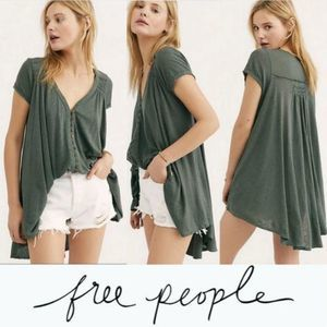 Free People Highland Button front smocked hilo M